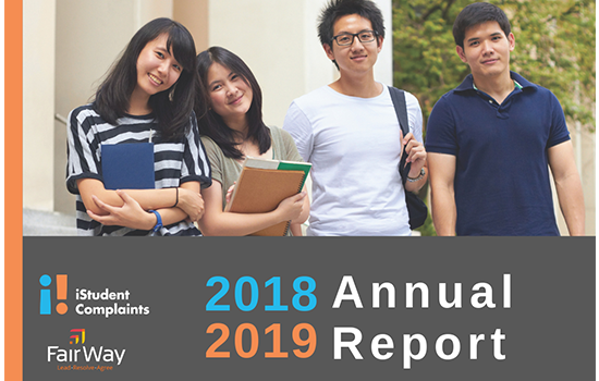 Annual Report 2018-2019, international students standing, two boys, two girls